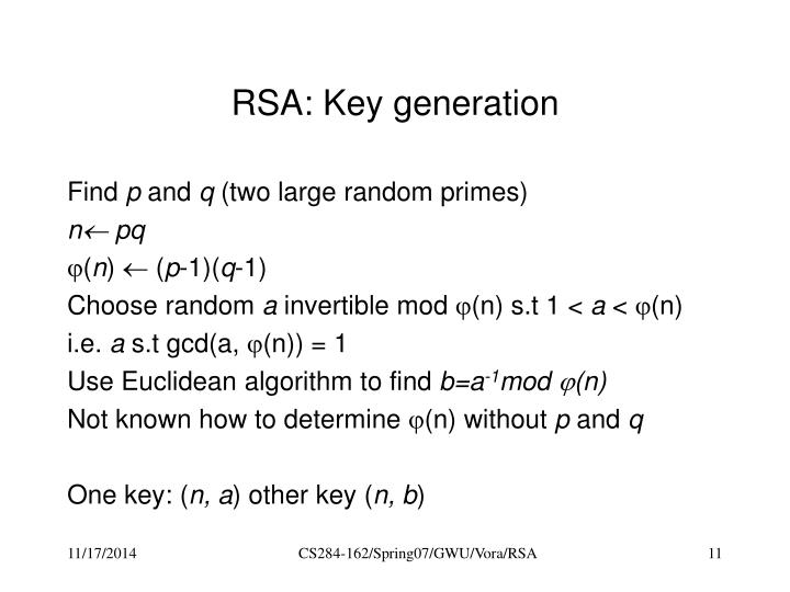 RSA: Key generation