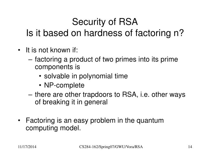 Security of RSA