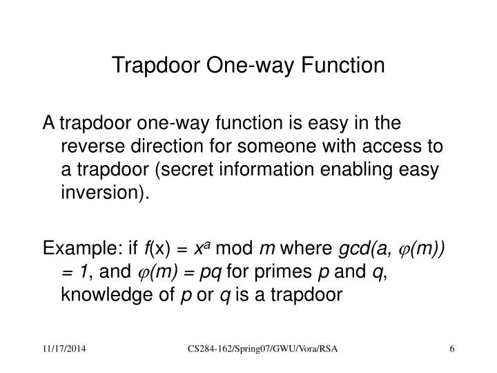 Trapdoor One-way Function