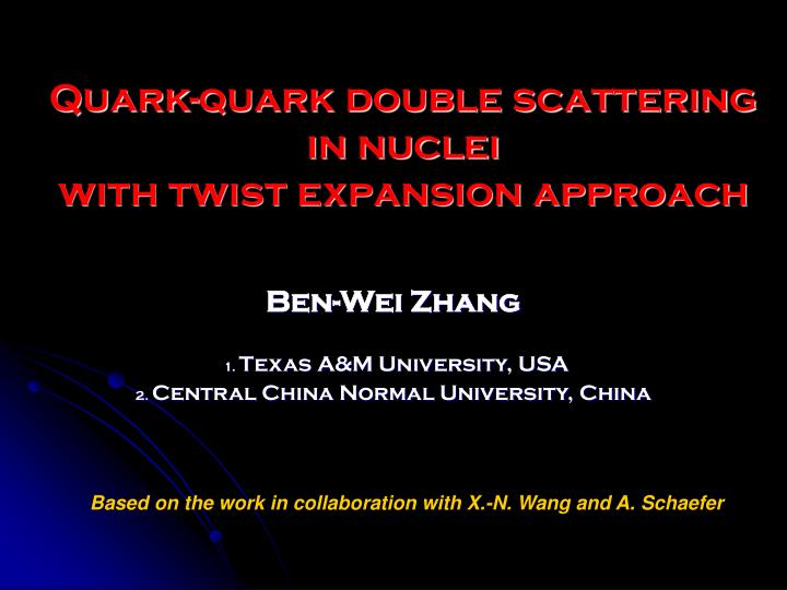 Quark quark double scattering in nuclei with twist expansion approach