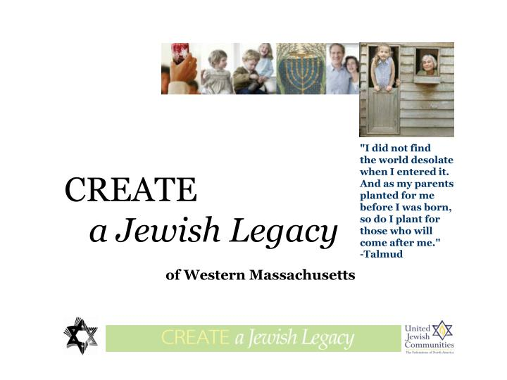Create a jewish legacy of western massachusetts