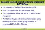 lessons learned main barriers to implement dots plus