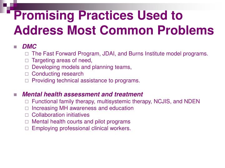 Promising Practices Used to Address Most Common Problems