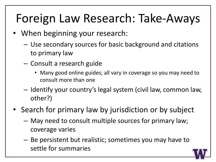 Foreign Law Research: Take-