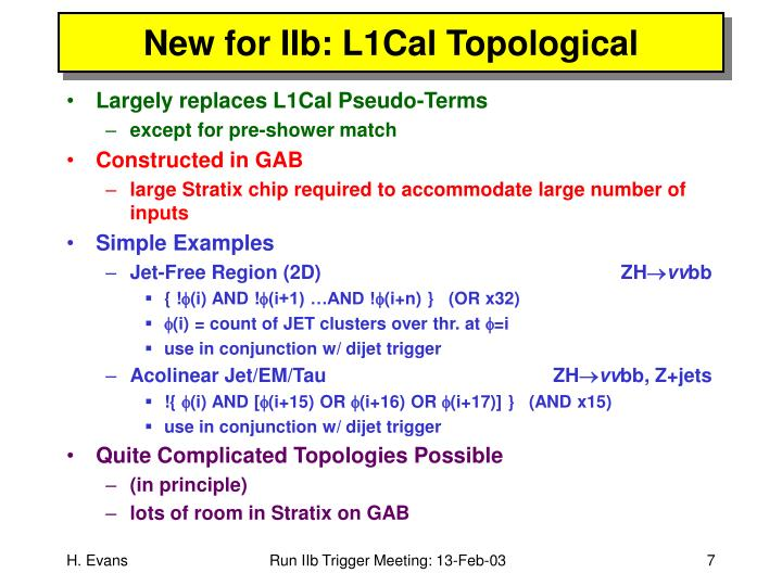 New for IIb: L1Cal Topological