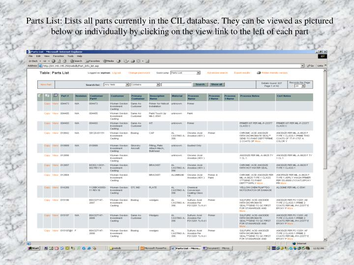 Parts List: Lists all parts currently in the CIL database. They can be viewed as pictured below or individually by clicking on the view link to the left of each part