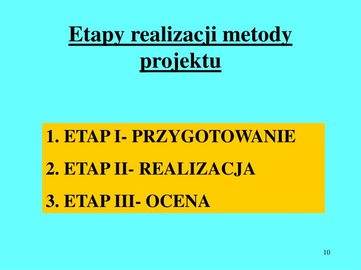 Etapy realizacji metody projektu