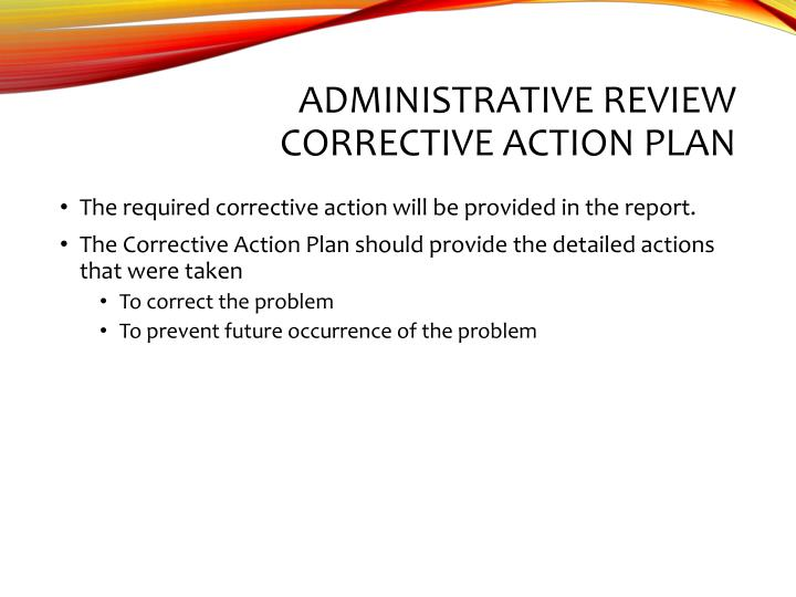 Administrative Review Corrective Action Plan
