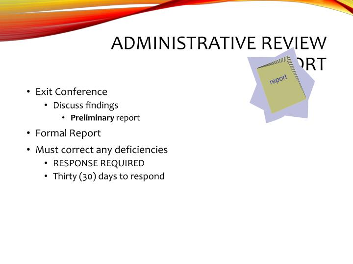 Administrative Review Report
