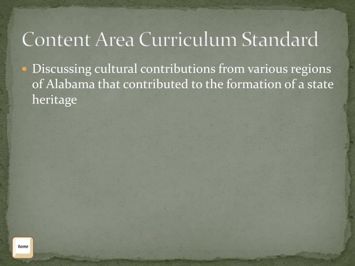 Content Area Curriculum Standard