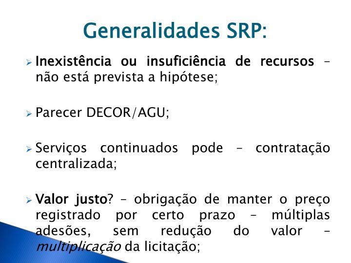 Generalidades SRP: