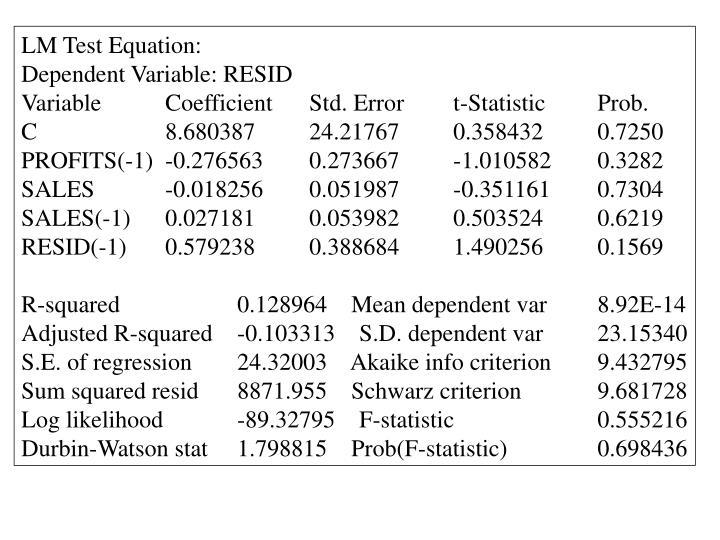 LM Test Equation: