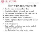 how to get tenure cont d