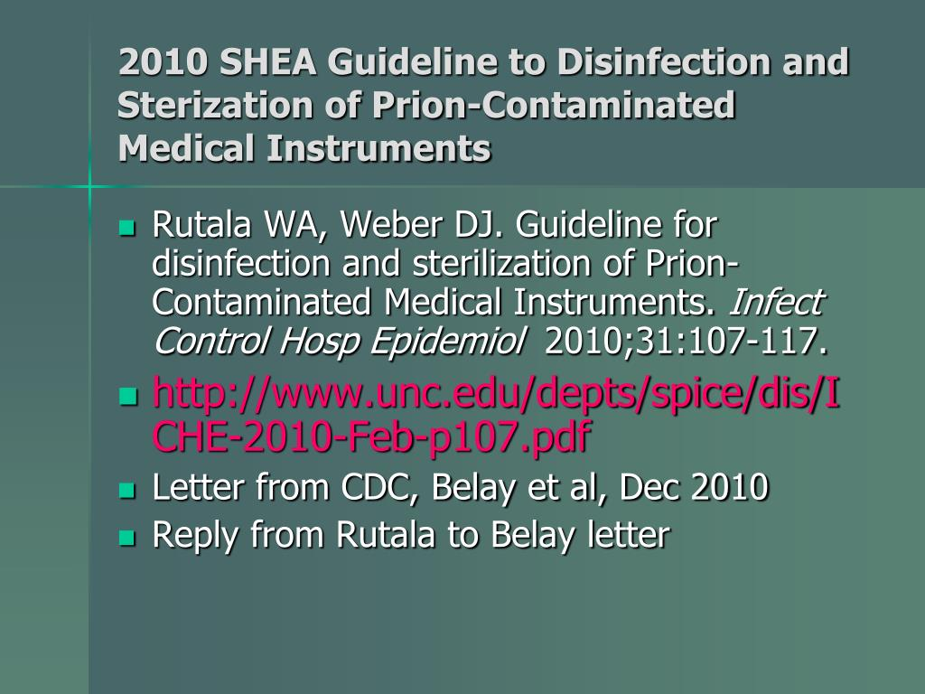 PPT - Current Issues Regarding Disinfection & Sterilization of Prion
