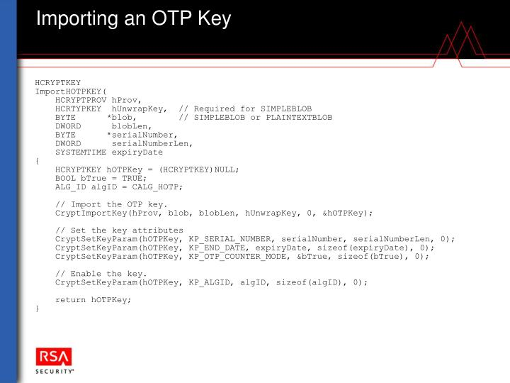 Importing an OTP Key