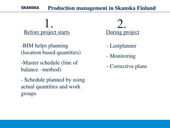 Production management in Skanska Finland