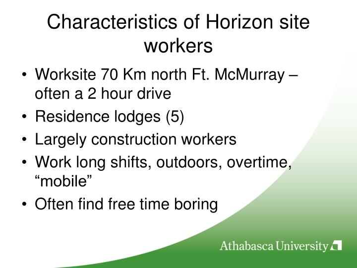 Characteristics of Horizon site workers