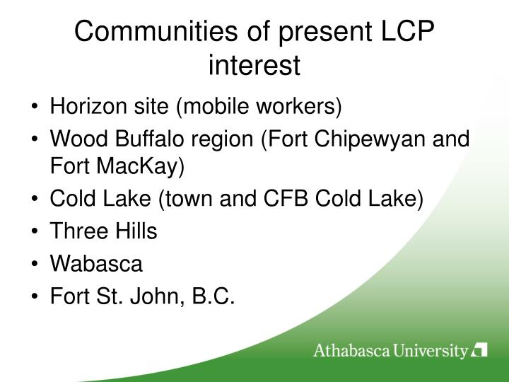 Communities of present LCP interest