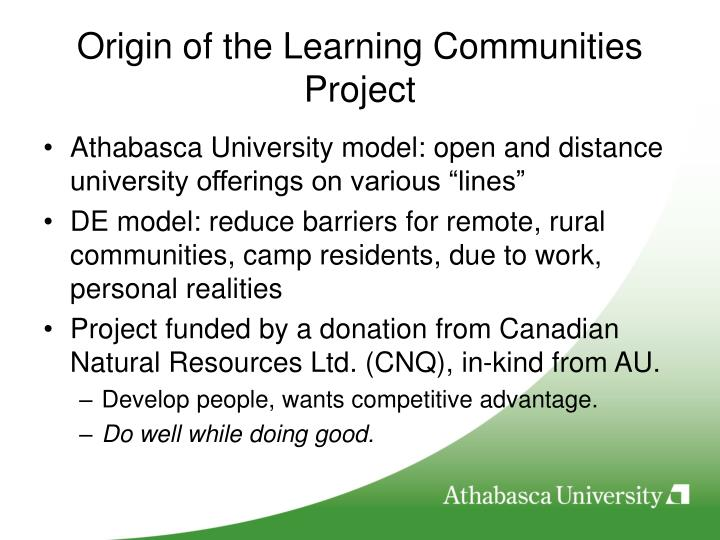 Origin of the learning communities project