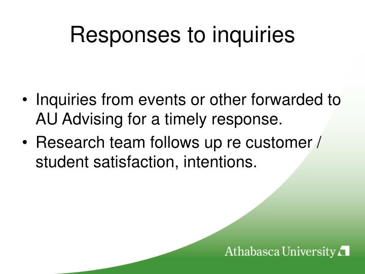 Responses to inquiries