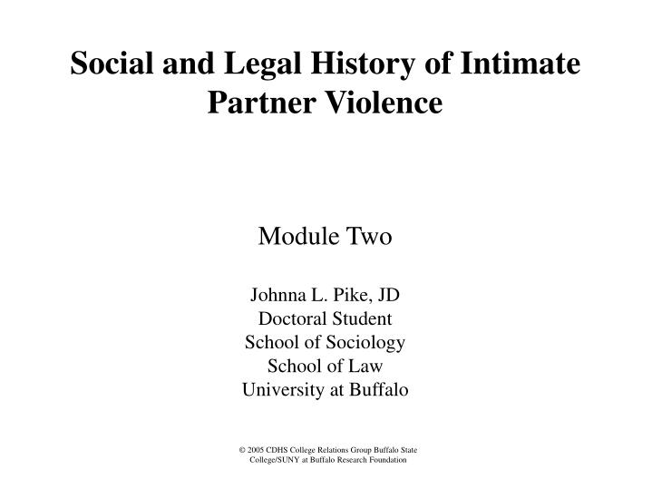 social and legal history of intimate partner violence n.