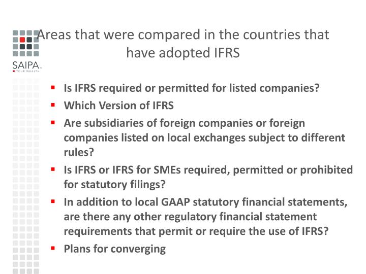 Areas that were compared in the countries that have adopted IFRS