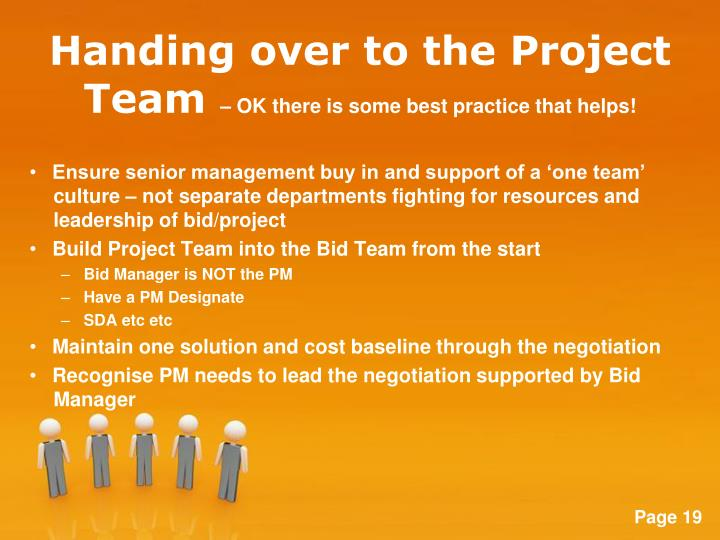 Handing over to the Project Team