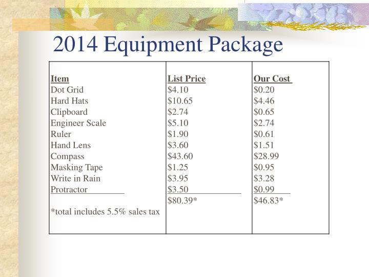 2014 Equipment Package