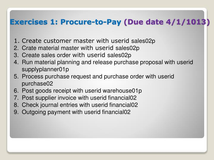 Exercises 1: Procure-to-Pay