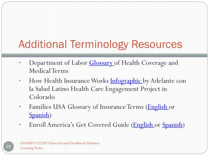 Additional Terminology Resources
