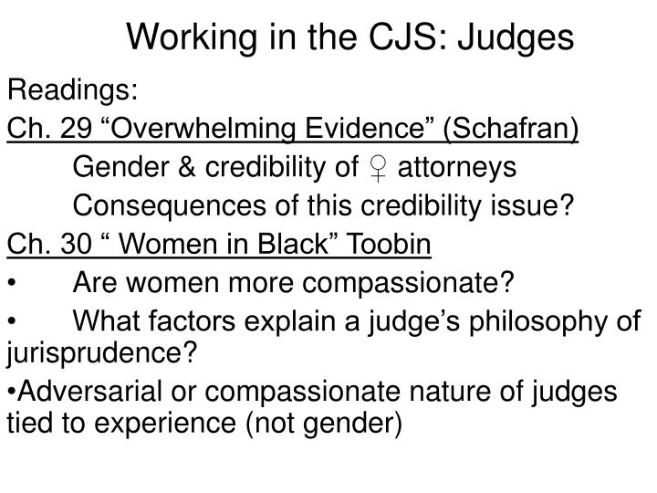 Working in the CJS: Judges