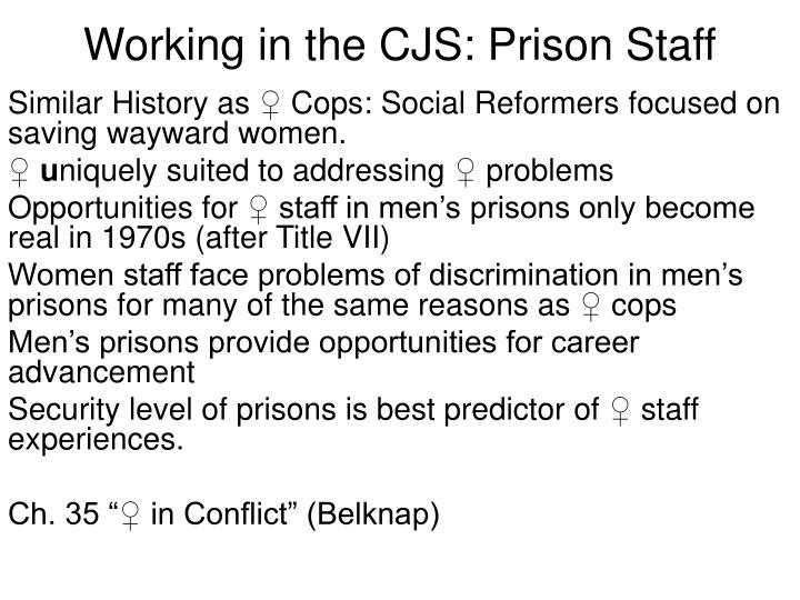 Working in the CJS: Prison Staff