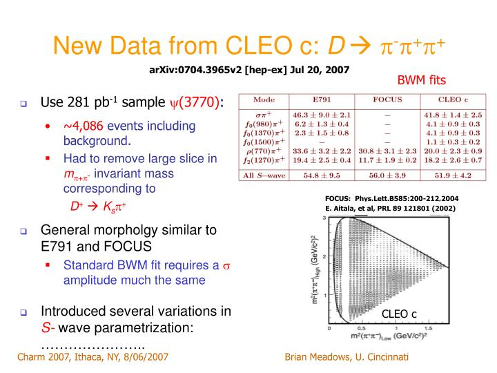 New Data from CLEO c: