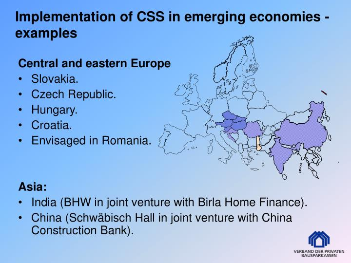 Implementation of CSS in emerging economies - examples