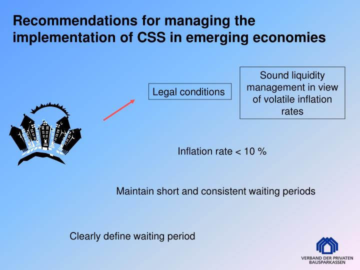 Recommendations for managing the implementation of CSS in emerging economies