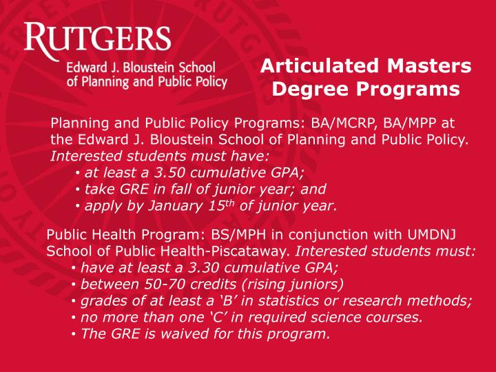 Articulated Masters Degree Programs