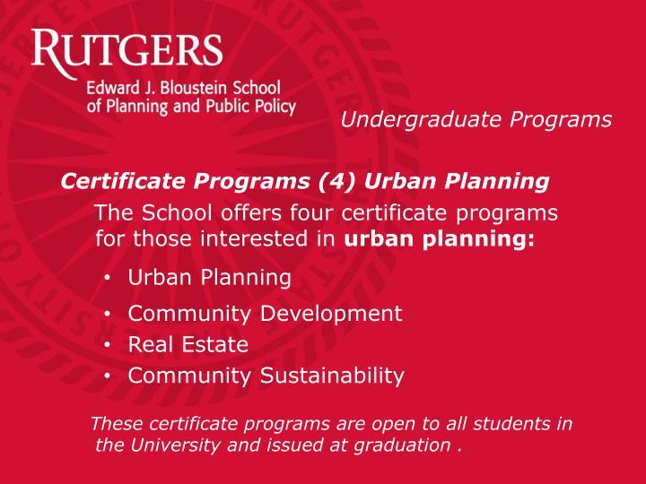 Certificate Programs (4) Urban Planning