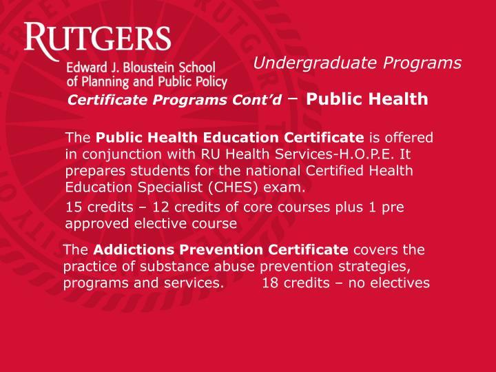 Certificate Programs Cont'd