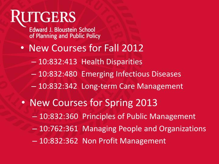 New Courses for Spring 2013