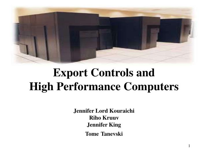 export controls and high performance computers n.