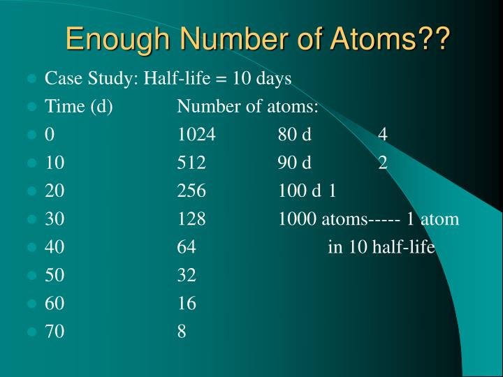 Enough Number of Atoms??