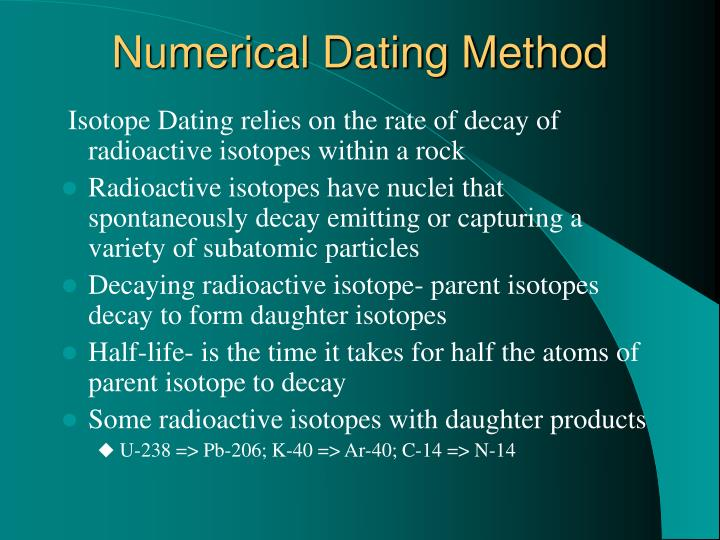 Numerical Dating Method