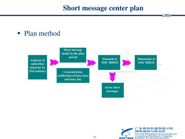 Short message center plan