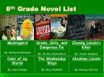 6 th grade novel list