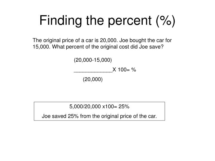 Finding the percent (%)