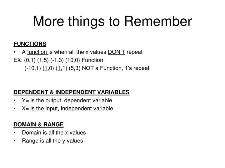 More things to Remember