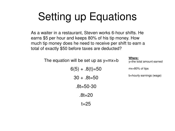 Setting up Equations