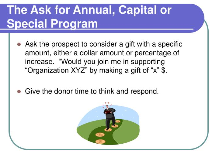 The Ask for Annual, Capital or Special Program