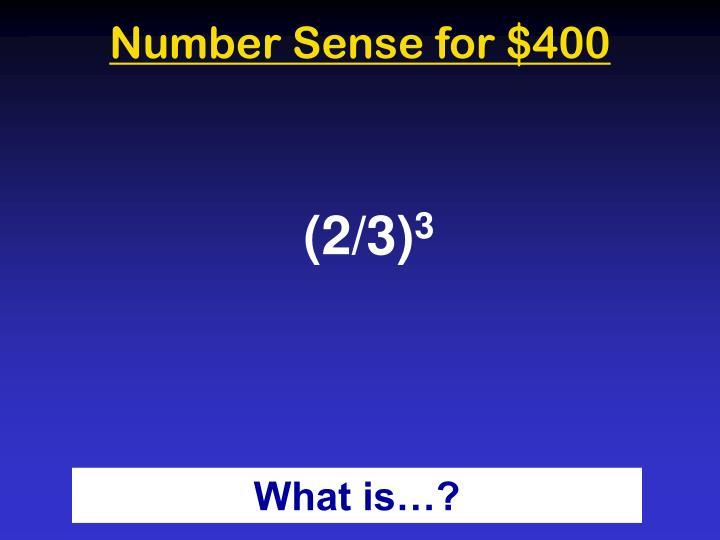 Number Sense for $400