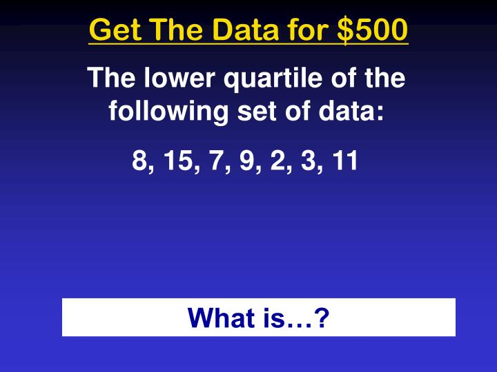 Get The Data for $500